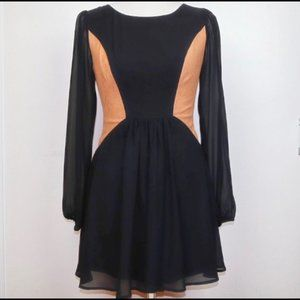 Color Block Belted Dress Black Tan Size Small
